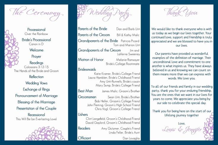 Tri Fold Program Template Fresh Wedding Program Trifold Fairy Tale Wedding