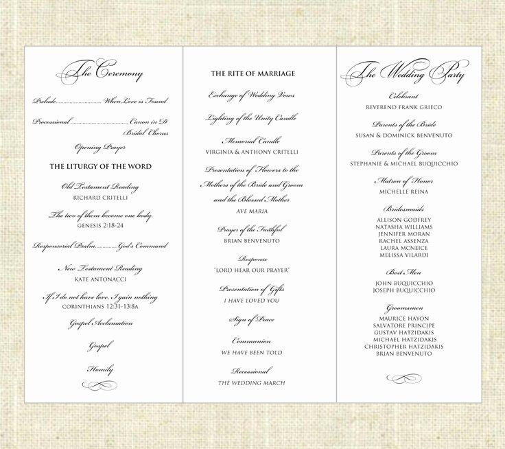 Tri Fold Program Template Lovely 6 Best Of Tri Fold Printable Wedding Programs