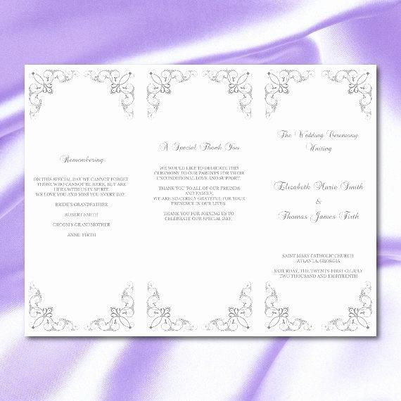 Tri Fold Program Template Lovely Silver Wedding Program Template Gray Tri Fold Ceremony