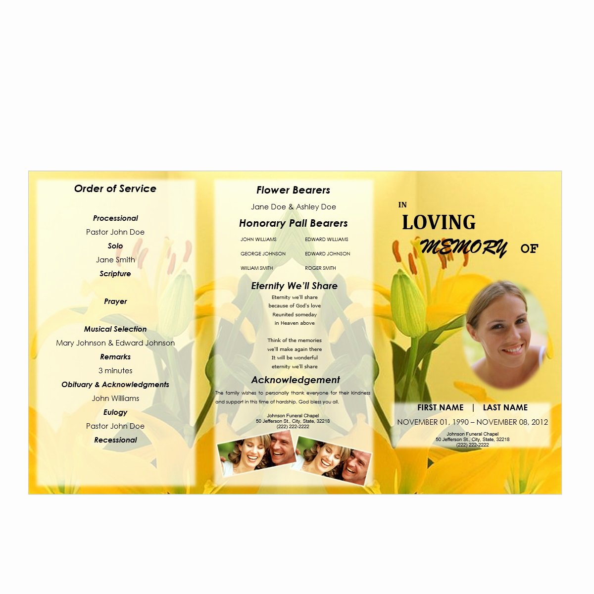 Tri Fold Program Template Unique Floral 3 Tri Fold Brochure Program Funeral Pamphlets