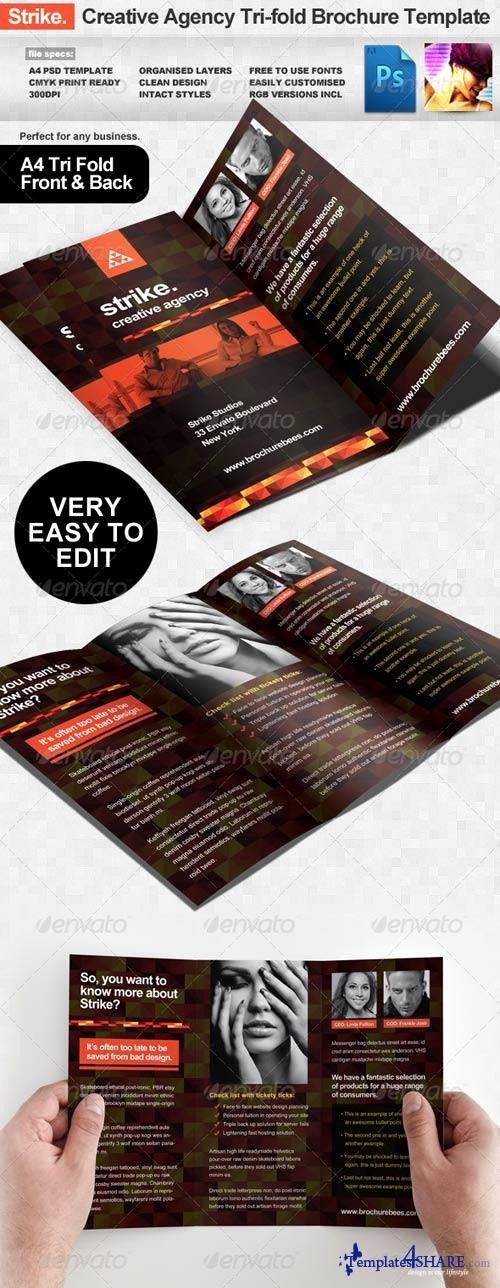 Tri Fold Template Photoshop Awesome Graphicriver Strike Creative Agency Tri Fold Brochure