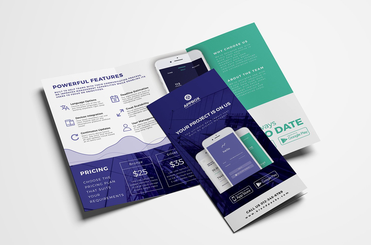 Tri Fold Template Photoshop Elegant Mobile App Tri Fold Brochure Template Psd Ai & Vector