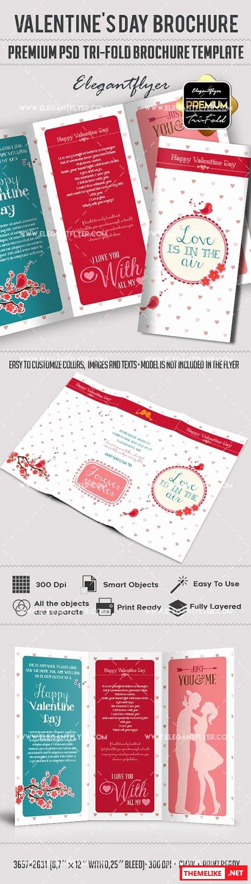 Tri Fold Template Photoshop Inspirational Valentines Day Premium Tri Fold Psd Brochure Template