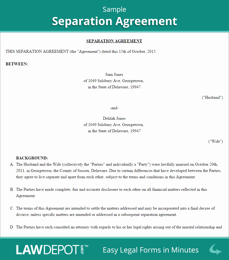 Trial Separation Agreement Template Awesome Separation Agreement Template Us Lawdepot