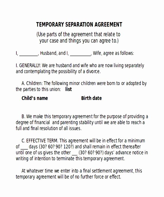 Trial Separation Agreement Template Awesome Temporary Separation Agreement Template Temporary