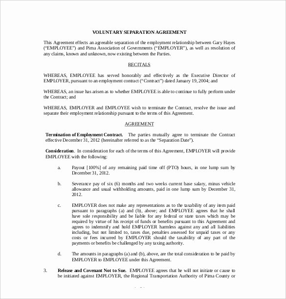 Trial Separation Agreement Template Best Of 16 Separation Agreement Templates Free Sample Example