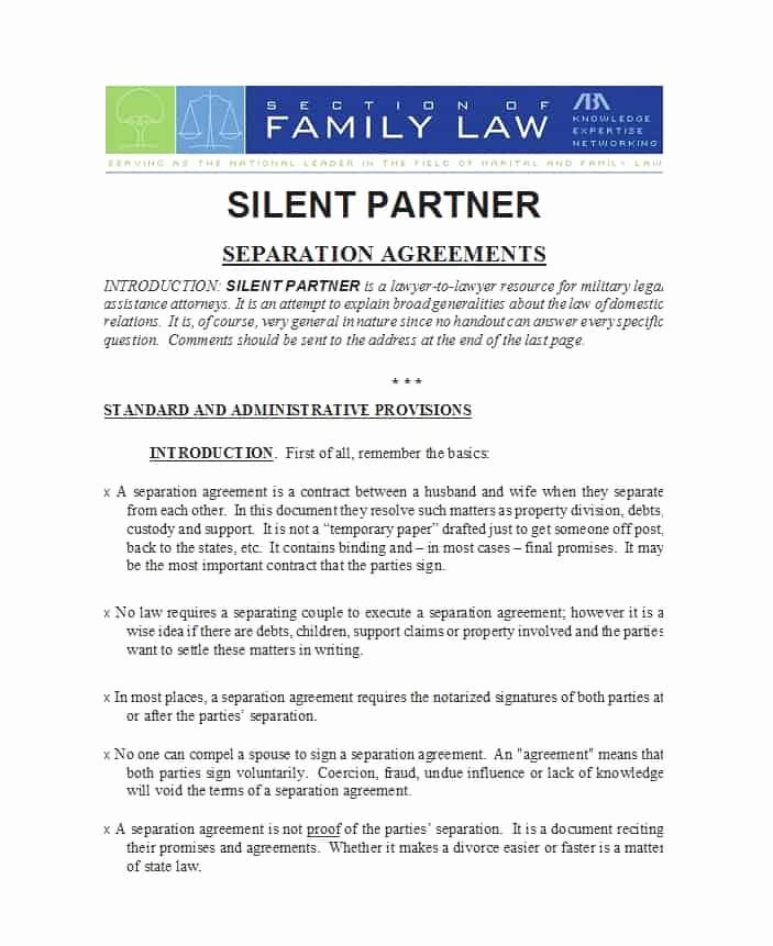Trial Separation Agreement Template Lovely 43 Ficial Separation Agreement Templates Letters