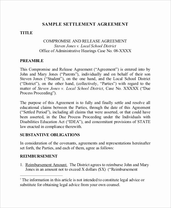Trial Separation Agreement Template Luxury 14 Confidential Settlement Agreement Templates – Free