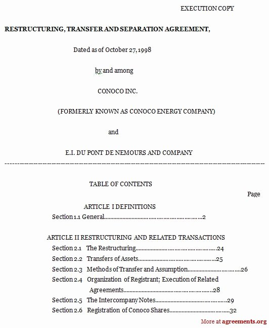 Trial Separation Agreement Template Unique Sample Seperation Agreement
