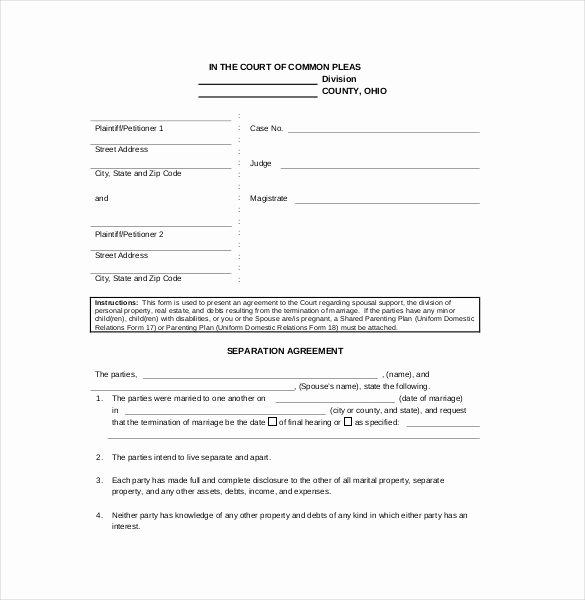 Trial Separation Agreement Template Unique Separation Agreement Template