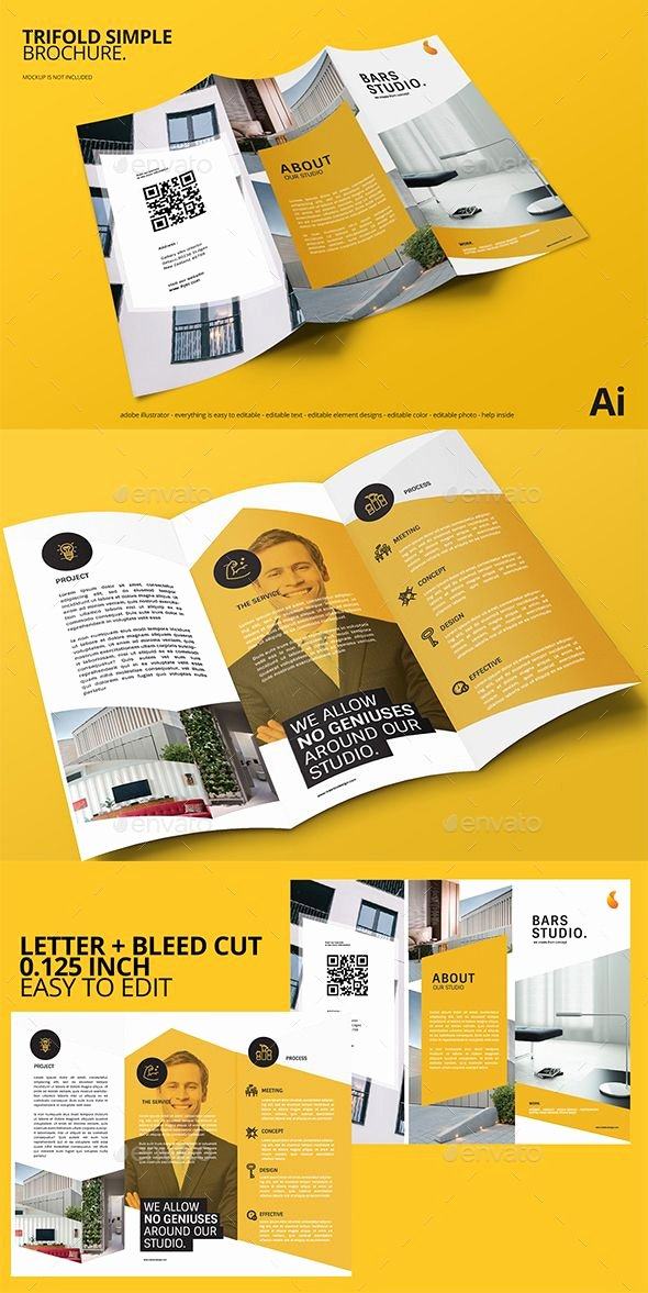 Trifold Brochure Template Illustrator Awesome Simple Trifold Brochure Template Ai Illustrator