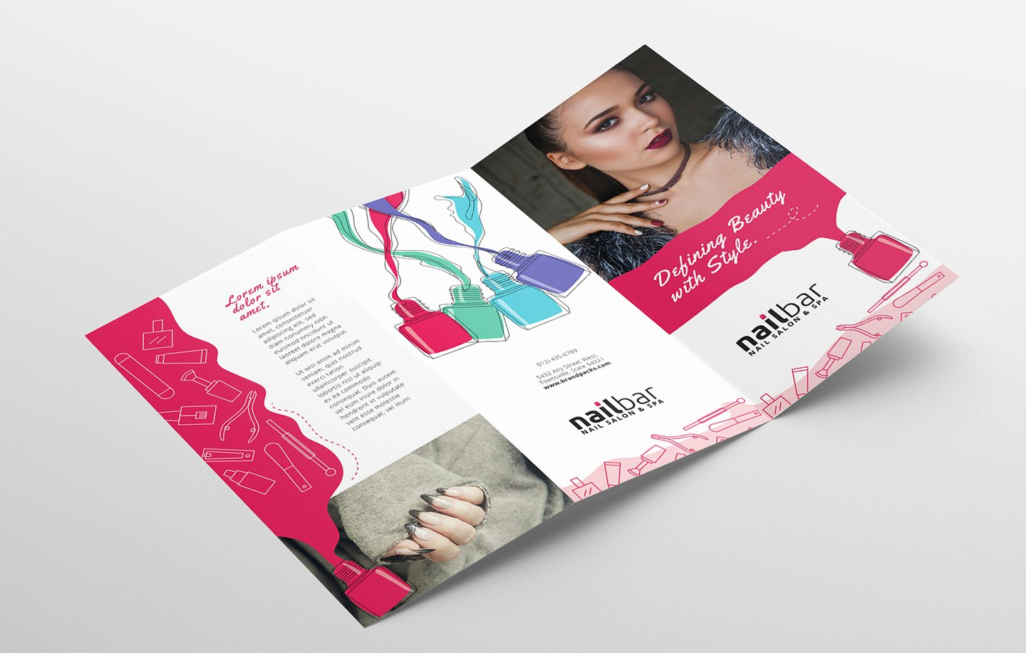 Trifold Brochure Template Illustrator Luxury Nail Salon Tri Fold Brochure Template In Psd Ai & Vector