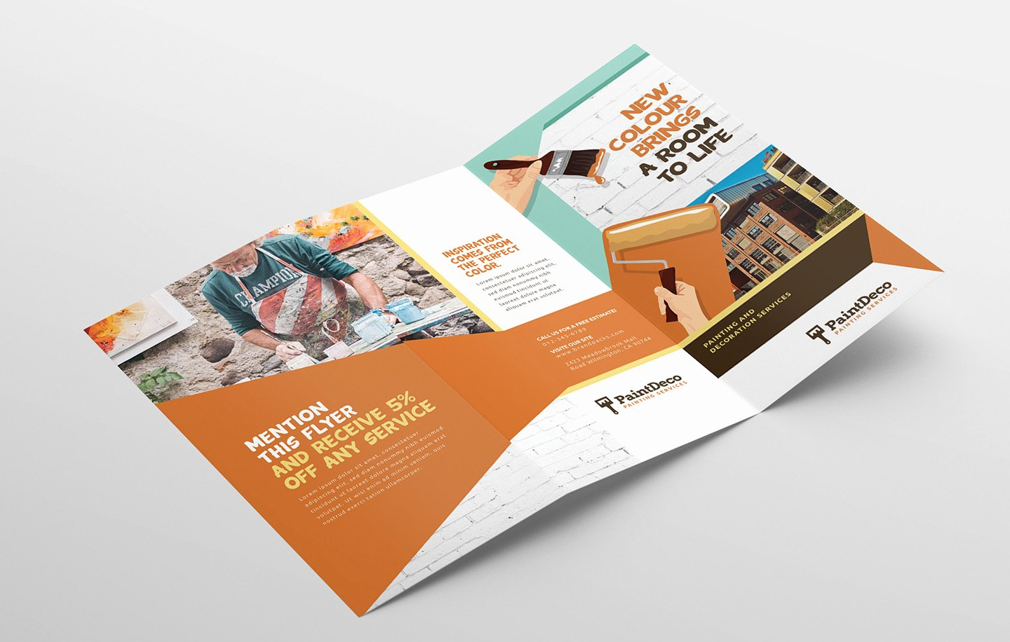 Trifold Brochure Template Illustrator Luxury Painter & Decorator Trifold Brochure Template In Psd Ai