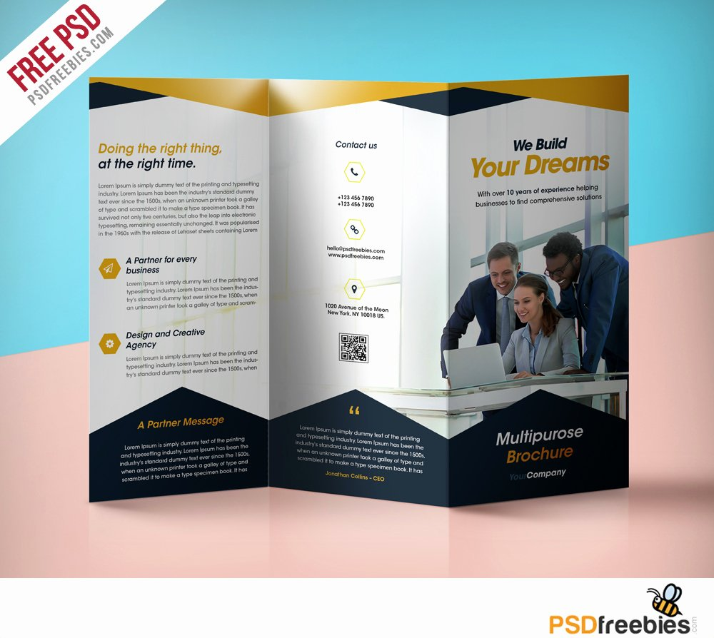 Trifold Brochure Template Photoshop Awesome Professional Corporate Tri Fold Brochure Free Psd Template