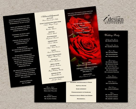Trifold Wedding Program Template Awesome Tri Fold Wedding Program with Romantic Red by