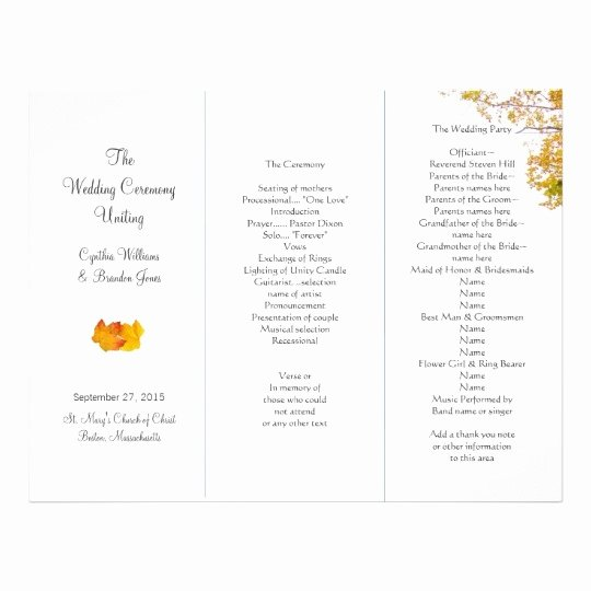 Trifold Wedding Program Template Awesome Trifold Wedding Program Template Invitation Template