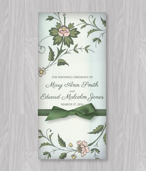 Trifold Wedding Program Template Awesome Watercolor Flowers Tri Fold Program Template