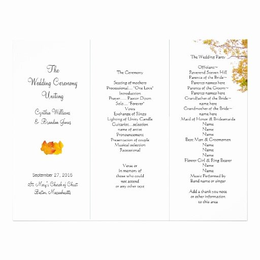 Trifold Wedding Program Template Beautiful 6 Best Of Tri Fold Wedding Program Templates Free