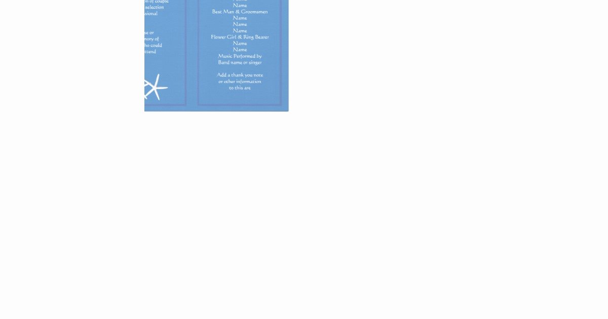Trifold Wedding Program Template Best Of Blue Starfish Tri Fold Wedding Program Templates
