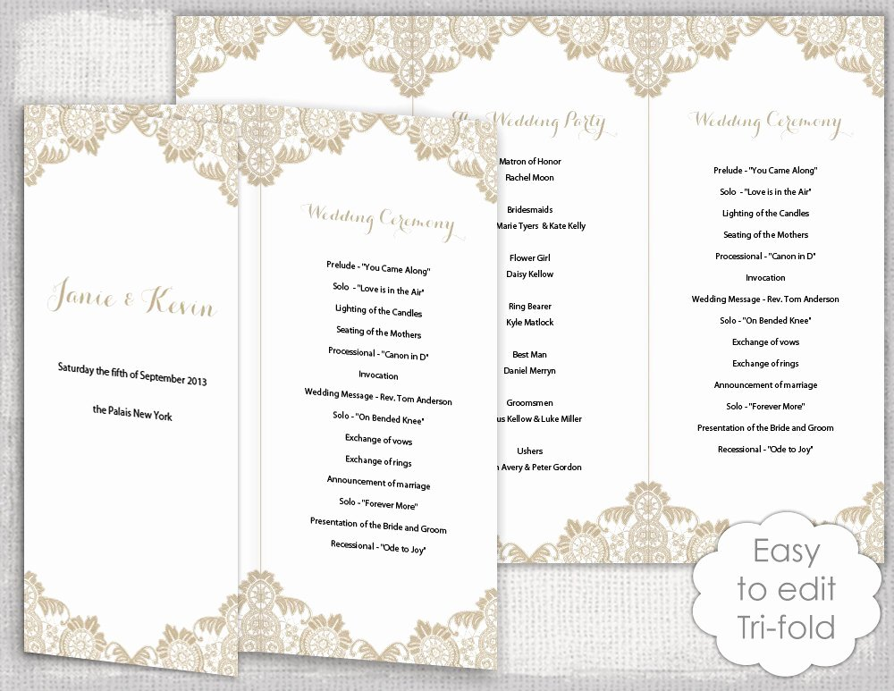 Trifold Wedding Program Template Best Of Lace Wedding Program Template Antique Lace Diy