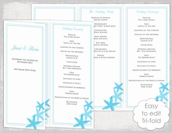 Trifold Wedding Program Template Best Of Trifold Wedding Program Template Malibu Blue