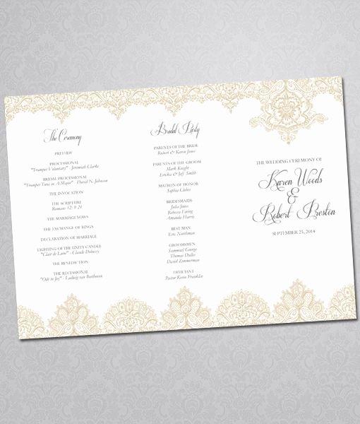 Trifold Wedding Program Template Elegant Diy Pearls and Lace Wedding Program Tri Fold Template