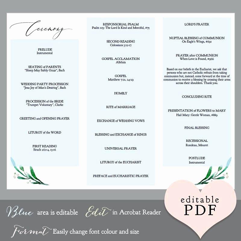 Trifold Wedding Program Template Elegant Trifold Wedding Programs Fold Blue Hydrangea Program Tri