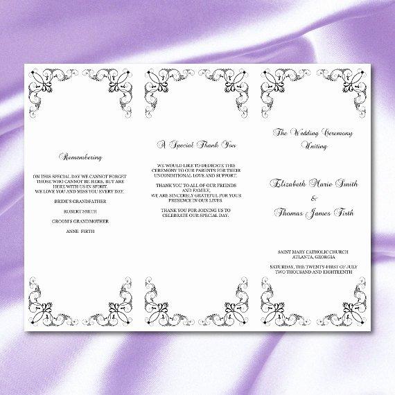 Trifold Wedding Program Template Inspirational Trifold Wedding Program Template Diy Black White Tri Fold