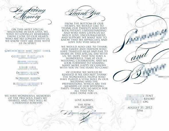 Trifold Wedding Program Template Luxury Trifold Silhouette Program