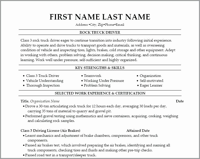 Truck Driver Resume Template Awesome Class A Driver Cover Letter – atoutvar