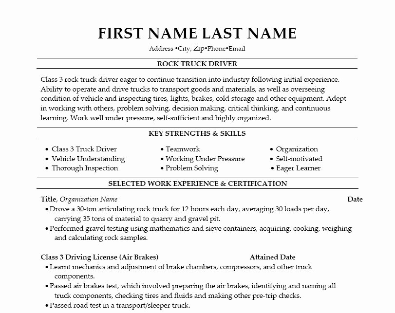 Truck Driver Resume Template Awesome Truck Driver Resume – Best Template Collection