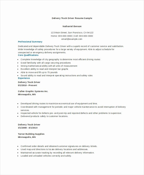 Truck Driver Resume Template Best Of 7 Truck Driver Resume Templates Pdf Doc