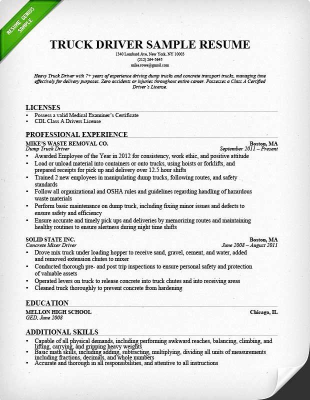 Truck Driver Resume Template Best Of Truck Driver Resume Sample and Tips