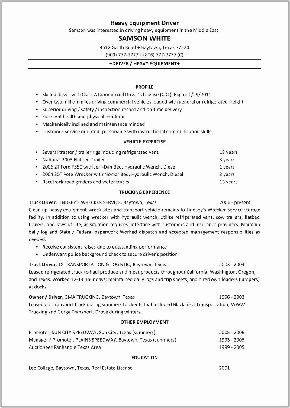 Truck Driver Resume Template Elegant Sample Resume for Cdl Truck Drivers Truck Driver Resume