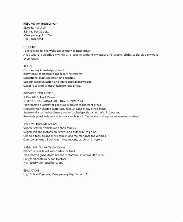 Truck Driver Resume Template Lovely 7 Truck Driver Resume Templates Pdf Doc