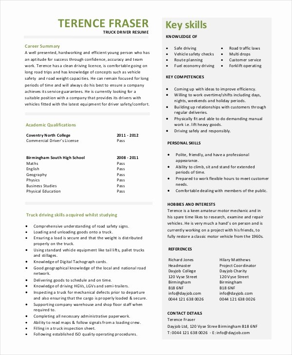 Truck Driver Resume Template New 7 Truck Driver Resume Templates Pdf Doc