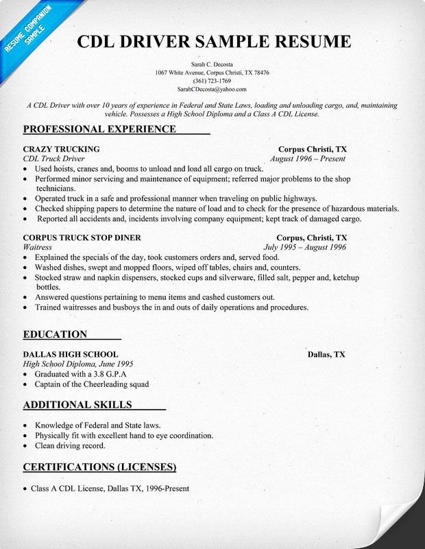 Truck Driver Resume Template New Cdl Driver Resume Sample Resume Panion