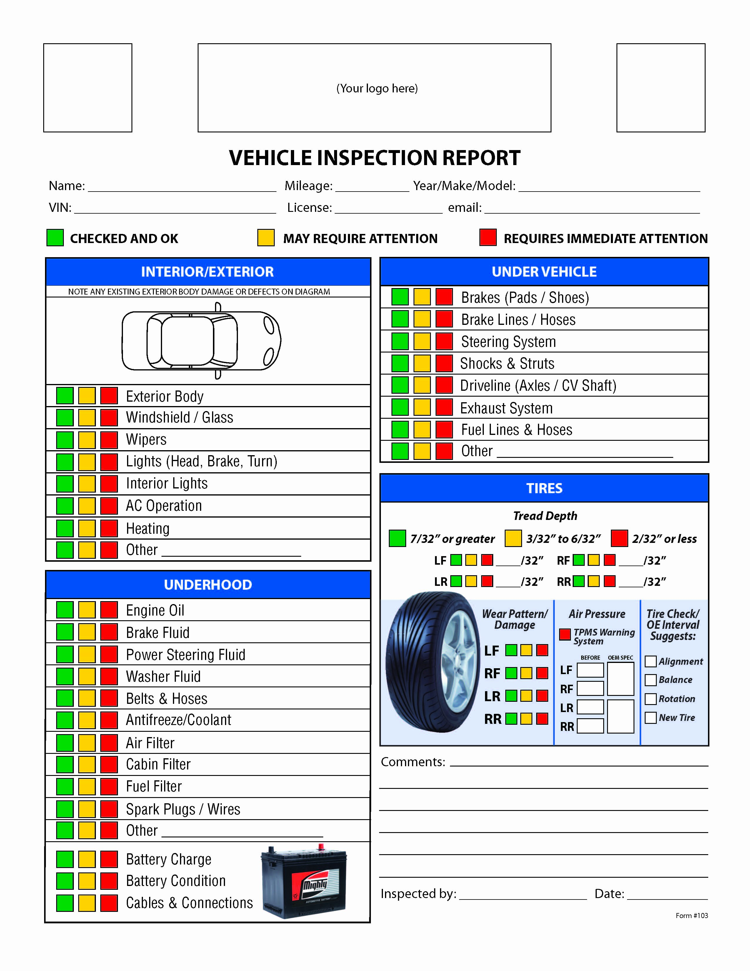 Truck Inspection form Template Elegant Free Vehicle Inspection Checklist form
