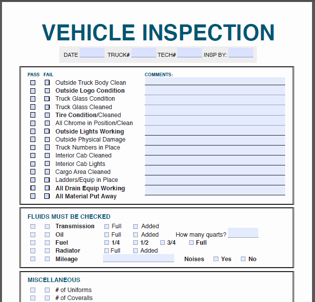 Truck Inspection form Template Lovely Profit Rhino™