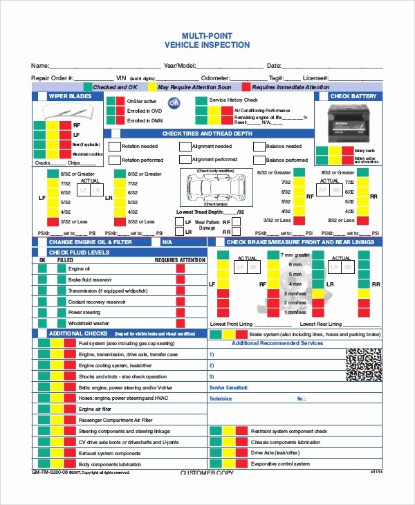Truck Inspection form Template Luxury 8 Vehicle Inspection forms – Pdf Word
