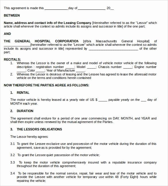Truck Lease Agreement Template Awesome 11 Vehicle Lease Agreement Templates to Download