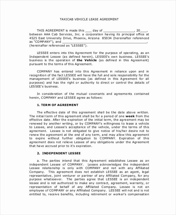 Truck Lease Agreement Template Beautiful 12 Vehicle Lease Agreement Templates Docs Word