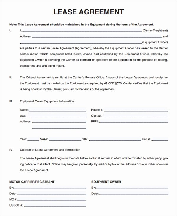 Truck Lease Agreement Template Beautiful 15 Owner Operator Lease Agreements Word Pdf