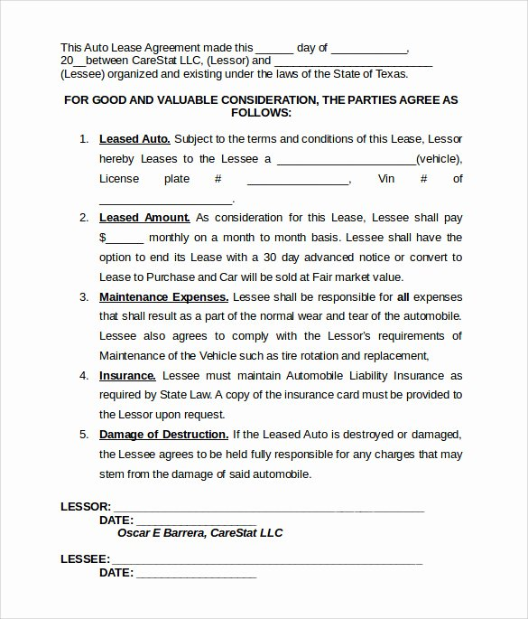 Truck Lease Agreement Template Best Of Vehicle Lease Template