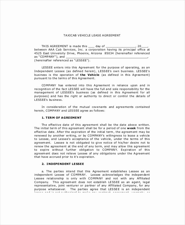 Truck Lease Agreement Template Fresh 10 Sample Vehicle Lease Templates Pages Docs