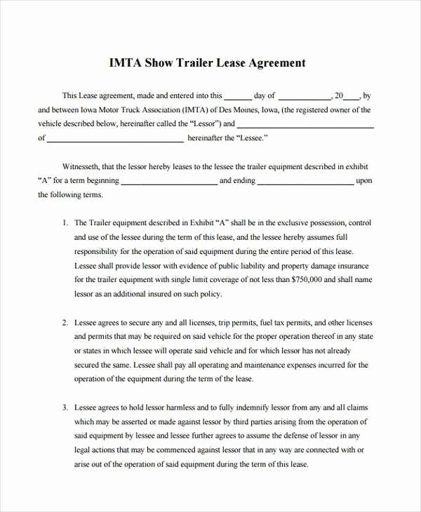 Truck Lease Agreement Template Inspirational Ooida Lease Agreement