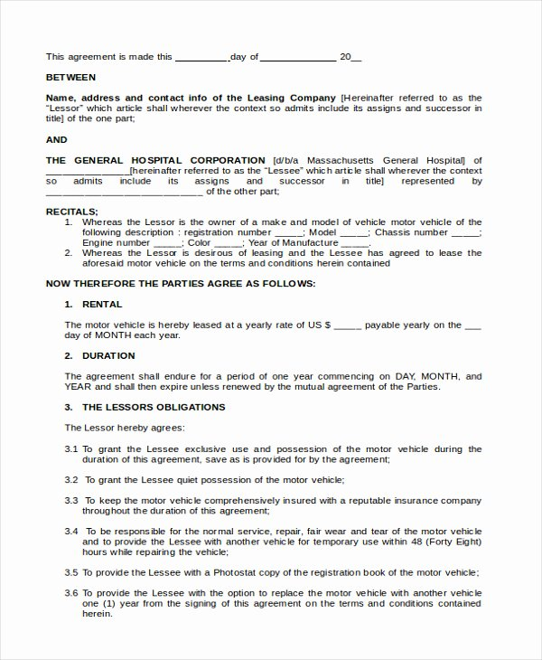 Truck Lease Agreement Template Inspirational Sample Lease Purchase Agreement
