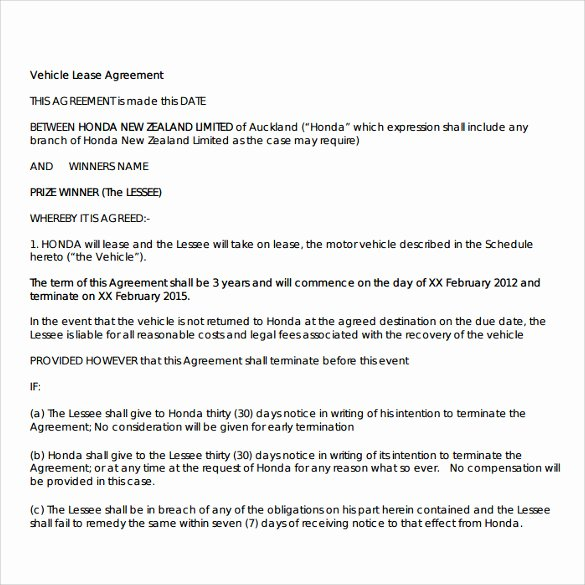 Truck Lease Agreement Template New Sample Vehicle Lease Agreement Template 12 Free