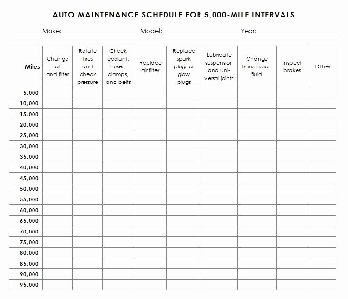 Truck Maintenance Schedule Template Awesome Auto Maintenance Schedule Template