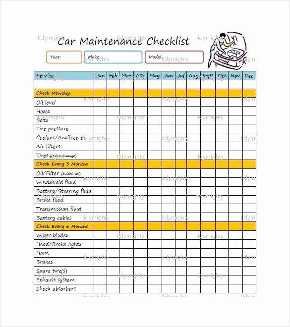 Truck Maintenance Schedule Template Elegant 27 Maintenance Checklist Templates Pdf Doc